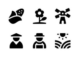 Simple Set of Agriculture Related Vector Solid Icons. Contains Icons as Corn, Farmer, Sunny Fields, Windmill and more.
