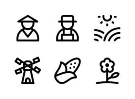 Simple Set of Agriculture Related Vector Line Icons. Contains Icons as Farmer, Sunny Fields, Windmill, Corn and more.