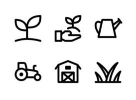 Simple Set of Agriculture Related Vector Line Icons. Contains Icons as Plant Sprout, Give Plant, Sprinkler, Tractor and more.
