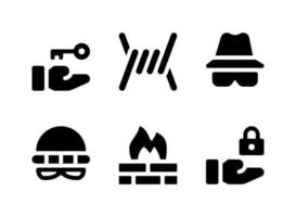 Simple Set of Security Related Vector Solid Icons. Contains Icons as Barbed, Thief, Firewall, Lock and more.