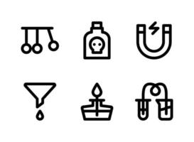 Simple Set of Laboratory Related Vector Line Icons. Contains Icons as Pendulum, Poison, Magnet, Funnel and more.