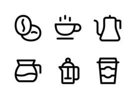 simple conjunto de iconos de línea de vectores relacionados con la cafetería. contiene iconos como granos de café, tetera, jarra, taza y más.