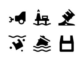 Simple Set of Pollution Related Vector Solid Icons. Contains Icons as Car, Oil Leaking, Plastic Pollution, Floating Barrel and more.