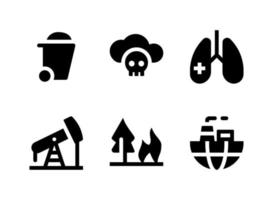 Simple Set of Pollution Related Vector Solid Icons. Contains Icons as Garbage, Oil Rig, Forest Fire, World Pollution and more.