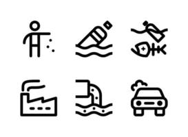 Simple Set of Pollution Related Vector Line Icons. Contains Icons as Litter, Floating Bottle, Dead Fish, Factory and more.