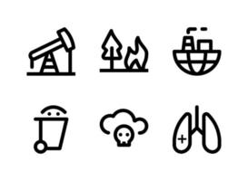 Simple Set of Pollution Related Vector Line Icons. Contains Icons as Oil Rig, Forest Fire, World Pollution, Garbage and more.