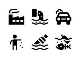 simple conjunto de iconos sólidos vectoriales relacionados con la contaminación. contiene iconos como fábrica, peces muertos, basura, botella flotante y más. vector