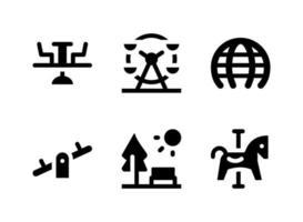 simple conjunto de iconos sólidos vectoriales relacionados con el patio de recreo. contiene iconos como ferris, balancín, parque, carrusel de caballos y más. vector