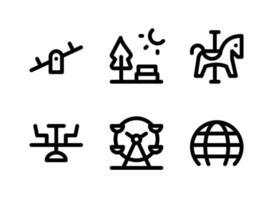 simple conjunto de iconos de línea de vector relacionados con el patio de recreo. contiene íconos como balancín, parque, carrusel de caballos, ferris y más.