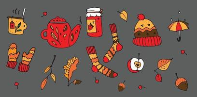 Vector set of autumn cozy elements socks, falling leaves, food, teapot. Scrapbook collection of fall season icons. Cute background for harvest time. Autumn greeting card