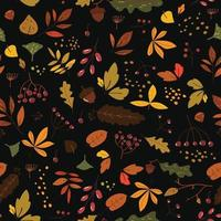 Seamless pattern with autumn leaves in Orange, Brown and Yellow. Cute trendy design for fabric, wallpaper, wrap paper. Scandinavian style repeated black background with leaves. Hand draw texture. vector