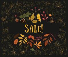 Autumn sale. Autumn leaves are drawn on a black background. Sketch, design elements. Vector illustration. Scandinavian design.