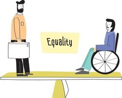 hombre y hombre discapacitado de pie en la balanza. concepto de igualdad de género en el trabajo o en la empresa, igualdad de derechos para ambos sexos. vector