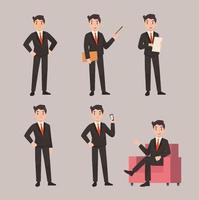 conjunto de ilustración plana de pose de personaje de hombre de negocios vector