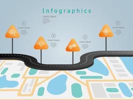 Plantilla de elementos de infografía de línea de tiempo de hoja de ruta empresarial con iconos 4 pasos