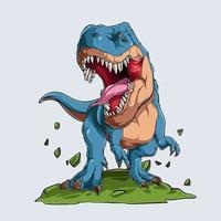 Blue angry Tyrannosaurus T Rex vector
