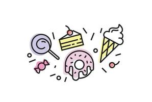 Set of colorful sweets icons isolated. Trendy linear style, ice cream, donut, lollypop, cake, candy. vector