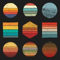 Retro Vintage Sunsets Pack vector
