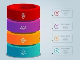 Plantilla de elementos de infografía de línea de tiempo vertical con iconos 4 pasos vector