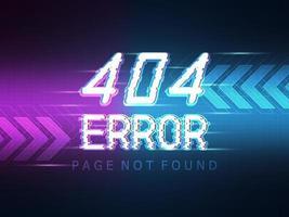 Página de mensaje de error 404 no encontrada con fondo de tecnología vector