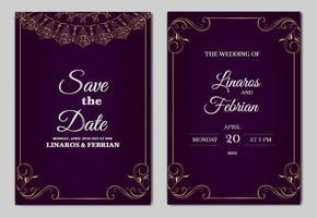 Conjunto de plantillas de tarjeta de invitación de boda hermosa de lujo vector