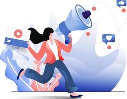 ilustración plana de publicidad online vector