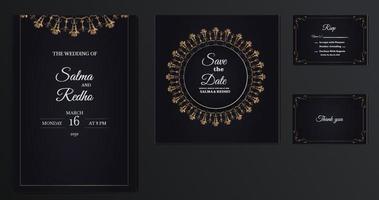 elegant wedding invitation template design Set vector