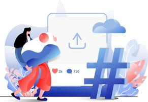 Social Media flat illustration of the concept of a woman uploading an image on the website, perfect for landing pages, templates, UI, web, mobile app, posters, banners, flyers. vector