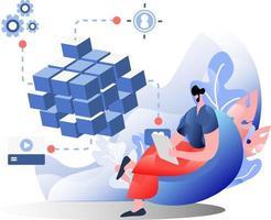 Strategy Marketing flat illustration vector