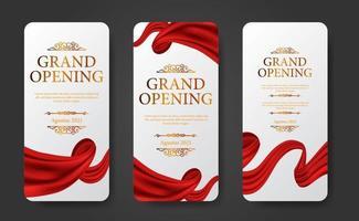 Elegant luxury grand opening social media stories template set vector