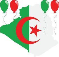 bandera y mapa argelino vector