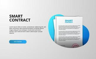Smart contract file document landing page vector