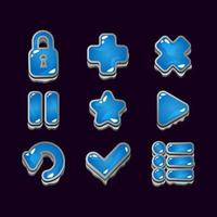 collection set of game ui rock jelly icon signs for gui asset elements vector illustration