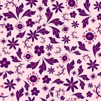 Pink and purple seamless pattern inspired by balkan folk motifs. Repetitive background with polish and hungarian ethnic elements. vector