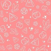 Pink occult seamless pattern with witch objects. Repetitive New Age background with illuminati pyramids, crystals, ouija planchettes and pentagrams. Witchery and esoteric ritualic wallpaper.