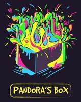 arte conceptual de la caja de pandora. Ilustración de neón de un recipiente con salpicaduras de color, explosión y explosión de líquido. vector