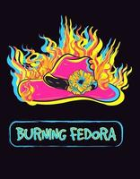 Card illustration of a pink fedora with a rose burning. Hat on fire vector with neon lights. Fashion and glamourous head wear.