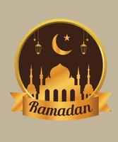 Gold badge for Ramadan vector