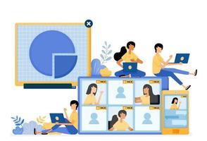 Diseño de vector de banner de tecnología de reuniones de negocios virtuales con servicios de comunicación móvil. El concepto de ilustración se puede utilizar para la página de destino, plantilla, ui ux, web, aplicación móvil, póster, banner, sitio web