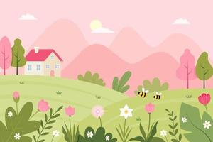 Spring Landscape with Cute House and Flowers Illustration vector