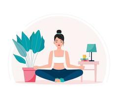 mujer joven, hacer, yoga, meditar, en, ella, casa, ilustración vector