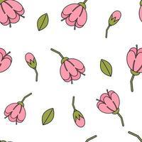 Patrón de vector de repetición perfecta de flores y capullos rosas