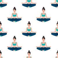 mujer meditando, yoga, seamless, patrón vector