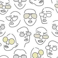 Seamless pattern with female portraits in glasses. Line drawing.