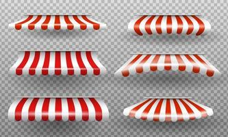 Red and white sunshade. Outdoor awnings for cafe and shop window isolated vector set. Sunshade for market or store.