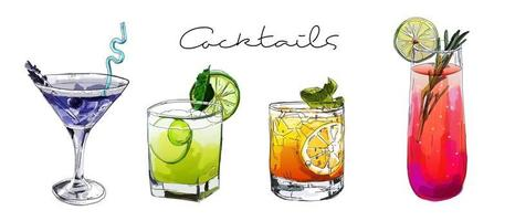 Hand drawn illustration of set of cocktails. vector