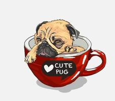 Cute Pug in cup. Print for t-shirt.