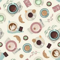 Vector seamless pattern with cups of coffee.