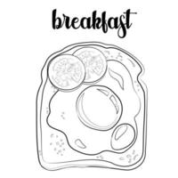 Outline of a toast with egg, olive and tomatoes vector