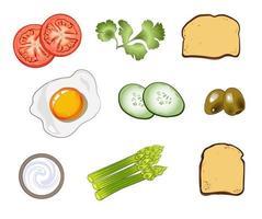 un conjunto de ingredientes, tortilla, espárragos, tostadas, tomates, pepinos, aceitunas, crema agria y perejil vector